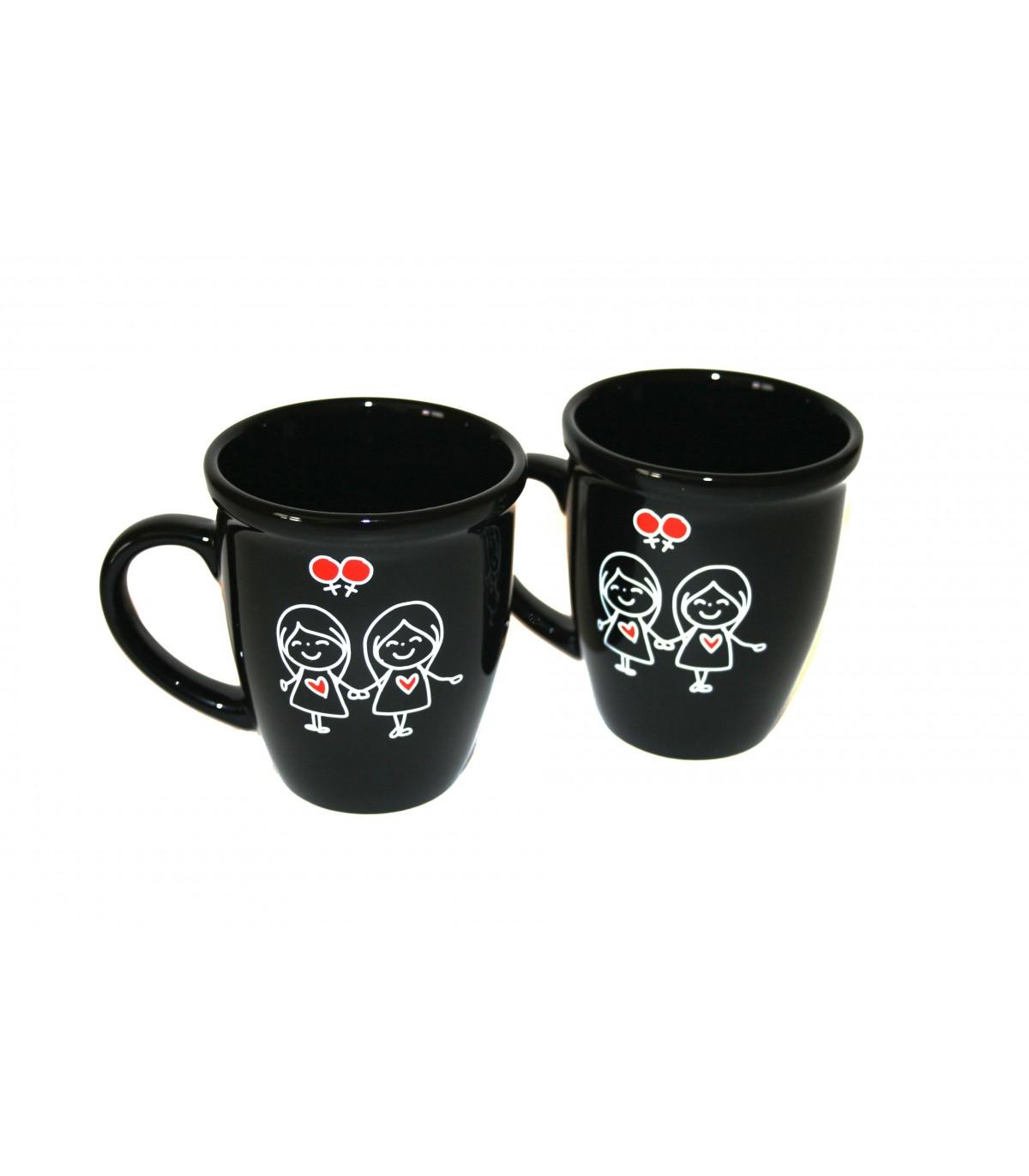 Set Of 2 Girls Holding Hands Mugs